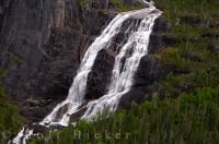 An aerial picture of an unnamed waterfall which cascades over the rocky ledges in the Mealy Mountains in Southern Labrador, Canada.
