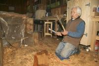 Tlingit Carver Nathan Jackson can be seen at work in the Carving Shed at Saxman Totem Park in Ketchikan Alaska.