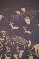These drawings of foot prints and animals are possibly the work of native american people.