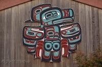 A carving on the side of a building situated on the Native American S'Kallam Tribe grounds on the Olympic Peninsula of Washington.