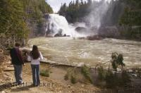 The power of the neigette Falls near Rimouski is seen during a spring flood. During the summer months this is an ideal place to see on a family vacation to Quebec.