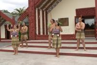 Maori People of New Zealand performing a welcome dance near in Rotorua on the North Island of New Zealand