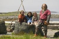 Stock photo of a viking family on western newfoundland