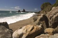 The beautiful coastal landscapes of the the West Coast at Monro Beach in the South Island of New Zealand.