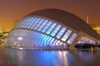The night lights radiate from the L Hemisferic at the City of Arts and Science in Valencia, Spain in Europe.