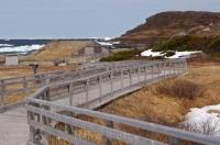 When arriving at the Norstead Viking Site in Newfoundland, Canada follow the boardwalk to the huts along the water's edge.