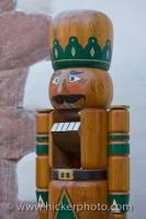 A beautiful handmade nutcracker on display at the Christmas markets in the historic village of Michelstadt in Hessen, Germany.