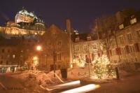 A winter scene in Old Quebec City in Canada.