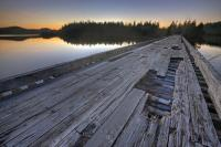 Old Wooden Bridge Scenic Sunset Photo