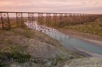 The Lethbridge Viaduct, one of the major attractions in Lethbridge Alberta, crosses the Oldman River and is the longest railway bridge of its kind in the world.