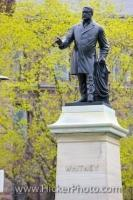 A statue of Sir James Pliny Whitney is displayed oustide the Ontario Legislative Building in the city of Toronto, Ontario in Canada.