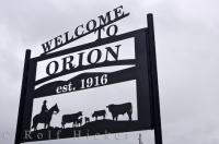 A welcome sign to the town of Orion in Southern Alberta, Canada along Highway 61 in the almost abandoned part of the region.