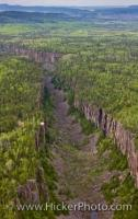 An aerial view of the Ouimet Canyon in Ouimet Canyon Provincial Park, Ontario, Canada. The Canyon is situated northeast of Thunder Bay near the shores of Lake Superior.