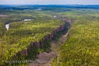 The Ouimet Canyon, located in the Ouimet Canyon Provincial Park is 100 metres deep, 150 metres wide about two kilometers long and plays host to a variety of rare arctic dwelling plants.