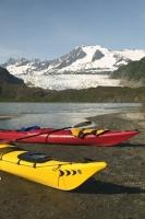 Alaska is one of the best overseas adventure travel locations, kayaking on Mendenhall Glacier Lake