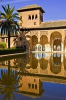 The still pool reflects the beautiful architecture of the Palacio del Partal and surrounding palm trees on it's surface, situated in the grounds of La Alhambra in the city of Granada, Andalusia, Spain.