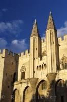 The historic Palais des Papas glistens in the sunlight in the walled city of Avignon, in the Provence, France in Europe.