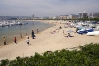 The working port of Palamos is situated along the Costa Brava in Spain, Europe.