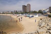 The town of Palamos is home to one of the most beautiful beaches along the Costa Brava coastline in Catalonia, Spain in Europe.