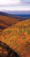 Panoramic photograph of autumn colors on Cape Breton in Nova Scotia, Canada