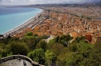 Panoramic view of the Old Town of Nice from the Parc du Chateau in Nice, Provence in France, Europe.