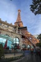 One of the theme hotels in Las Vegas, Nevada is the Paris hotel with a replica of the Eiffel Tower.