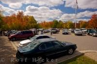 The parking lot at the West Gate of Algonquin Provincial Park in Ontario, Canada can become fairly busy during the Autumn season.