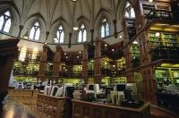 The historic old library at the Parliament Buildings in Ottawa, Ontario is an architectural masterpiece.