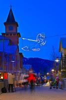 These people at the Whistler Village Ski Resort in British Columbia are taking a walk through the decorative lighting display along the Village Stroll just as dusk is setting in.