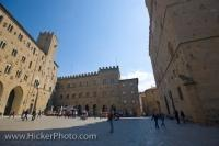 The Piazza dei Priori in Volterra, Tuscany in Italy is a medieval square which is home to some of the important Palazzi of the city.