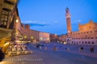 The Piazza del Campo in the City of Siena, Tuscany in Italy has an enchanting aura to it during the lighting at dusk.