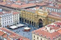 The historic Piazza della Repubblica as seen from the Duomo Campanile in Florence, Italy in Europe.