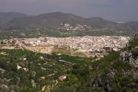 The picturesque town of Pego, Province of Alicante, nestled in the hills on the Costa Blanca of Spain in Europe.