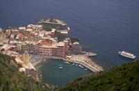 An aerial shot of the picturesque village of Vernazza along the Cinque Terre coastline in Liguria, Italy in Europe.