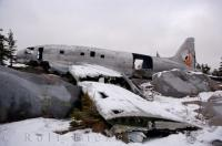 Covered in the winter ice, the remains of the plane wreck known as Miss Piggy sits near the Hudson Bay in Churchill, Manitoba.
