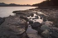 Soft colours form at sunset near Port McNeill on Northern Vancouver Island, British Columbia, Canada.