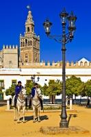 The city of Seville in Andalusia, Spain, is partly patrolled by policemen on horseback as seen here in the courtyard of the Reales Acazares.