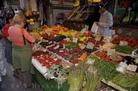 A fine display of fresh fruits and vegetables at one of the markets along the Ponte Di Rialto in Venice, Italy in Europe.