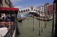 The historic Ponte di Rialto spans the Grand Canal in Venice, Italy in Europe.
