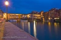 Dusk Ponte Vecchio Bridge Arno River Florence Tuscany Italy