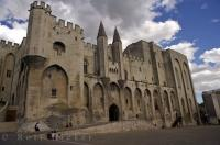 The magnificent Palais des Papes or Popes Palace in the medieval city of Avignon in Vaucluse, Provence, France in Europe.