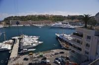 Port Hercule is a picturesque harbour where many luxury yachts visit in Monte Carlo, Monaco in Europe.