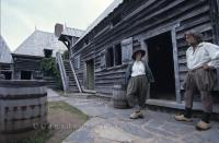 Costumed animators at the reconstructed settlement of Port Royal, one of the earliest settlements in North America.