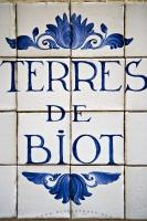 The decorative sign outside the Terres De Biot pottery shop along the Rue du Marche in the Old Town of Nice in Provence, France in Europe.