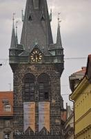 The Powder Tower in downtown Prague in the Czech Republic is 65 metres tall and is the gateway to the 'Royal Route', which is the path through the Old Town of Prague, over the Charles Bridge and up to Prague's castle.