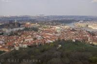 The city of Prague extends for miles across the landscape of the Czech Republic in Europe.