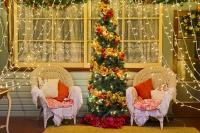 Elegant Decorated Christmas Lights And Tree Scene