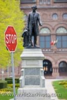 A statue of Prime Minister Sir John A. MacDonald stands outside the Ontario Legislative Building in Toronto, Ontario.