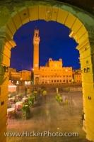 Public Square Dusk Picture City Of Siena Tuscany Italy