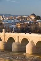 The Puente Romano (bridge) is an extremely old structure which was built during the time of the Romans under Augustus to span the Rio Guadalquivir. Located in the city of Cordoba, it is now a UNESCO World Heritage Site.